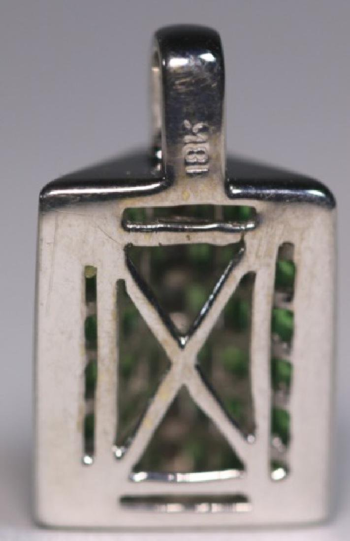 18KWG INVISIBLE SET DIAMOND & PERIDOT PENDANT - 3