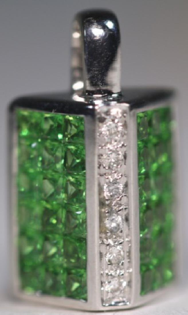 18KWG INVISIBLE SET DIAMOND & PERIDOT PENDANT - 4