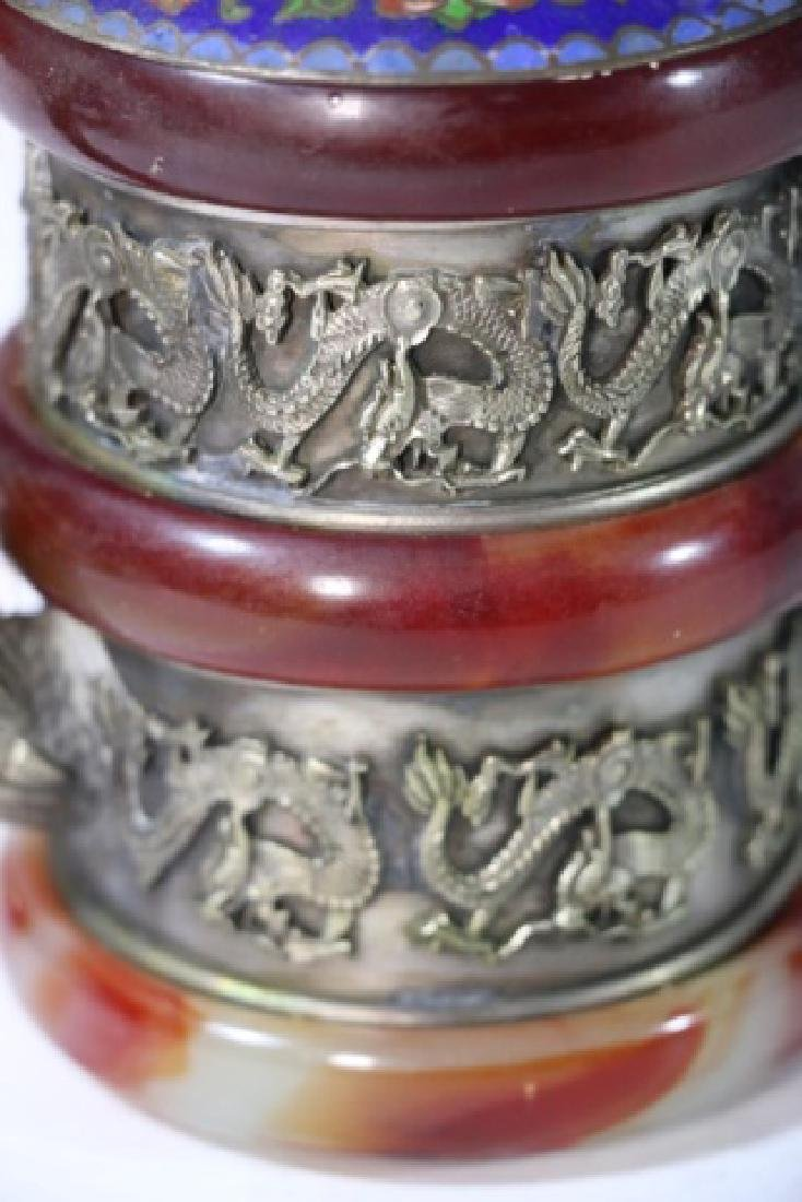 CHINESE ANTIQUE CLOISONNE SILVER & AGATE WATER POT - 10