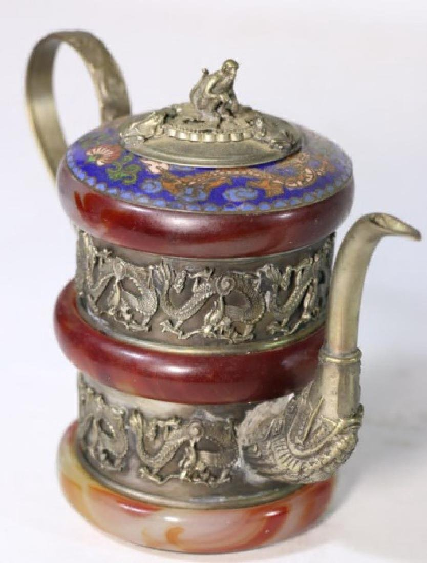 CHINESE ANTIQUE CLOISONNE SILVER & AGATE WATER POT