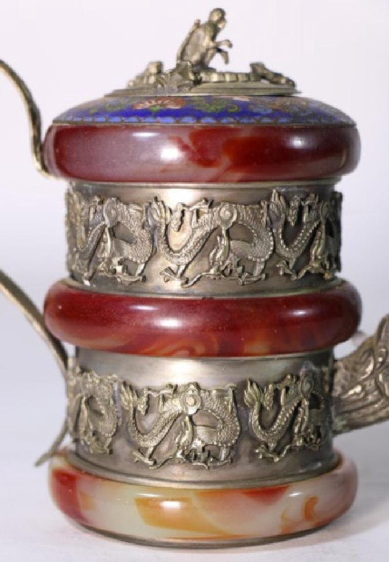 CHINESE ANTIQUE CLOISONNE SILVER & AGATE WATER POT - 2