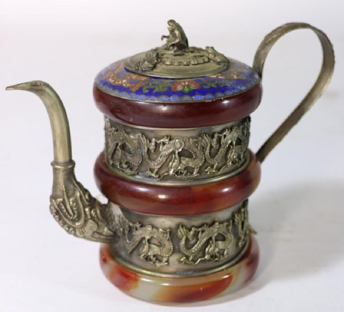 CHINESE ANTIQUE CLOISONNE SILVER & AGATE WATER POT - 9