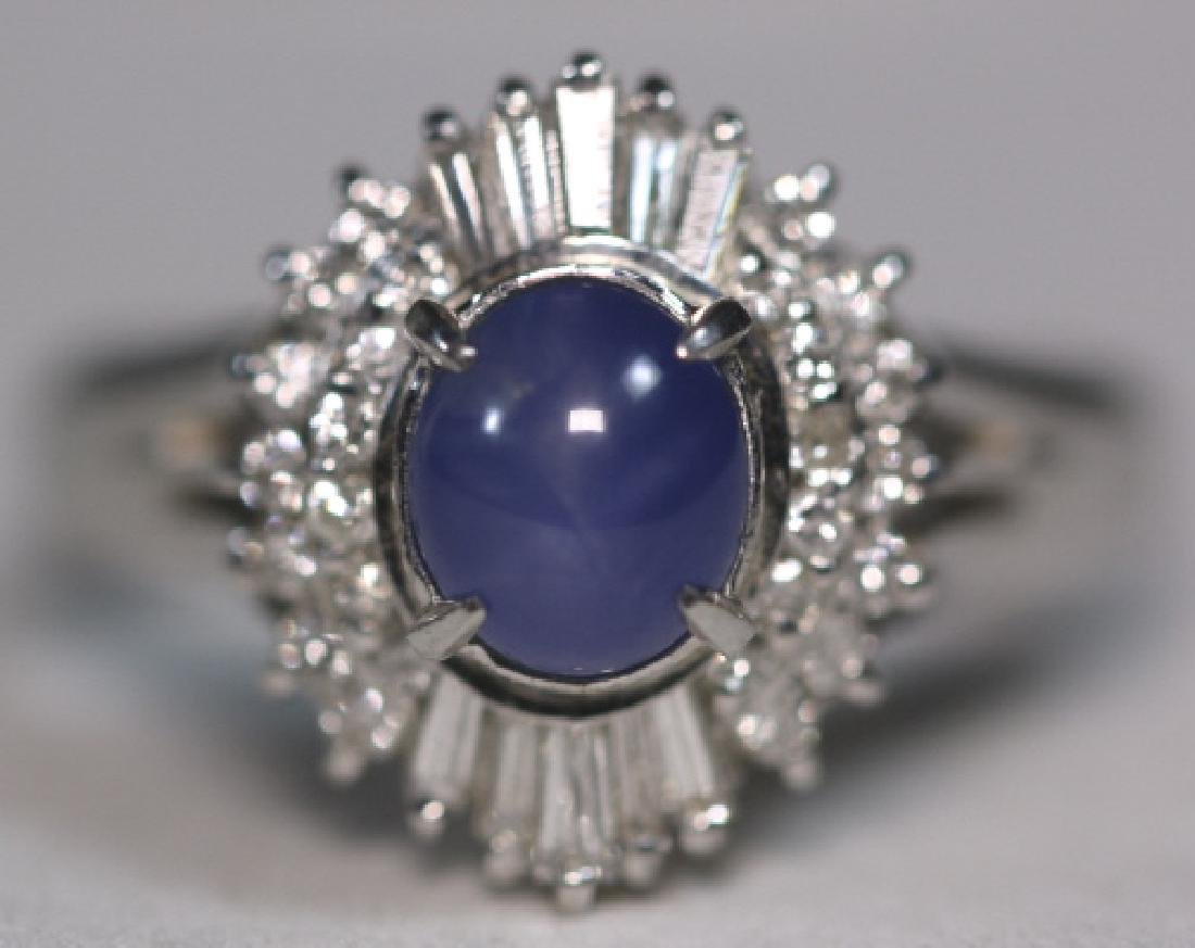 PLATINUM, BLUE CABOCHON SAPHIRE & DIAMOND  RING