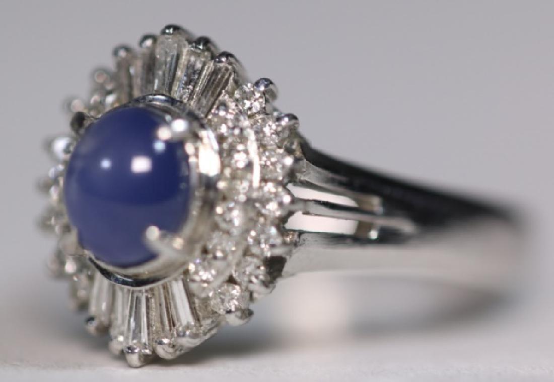 PLATINUM, BLUE CABOCHON SAPHIRE & DIAMOND  RING - 2