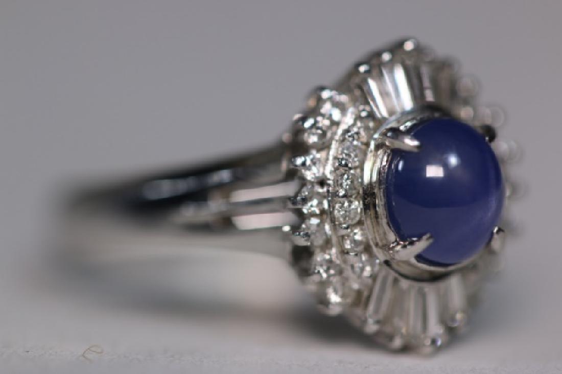 PLATINUM, BLUE CABOCHON SAPHIRE & DIAMOND  RING - 3
