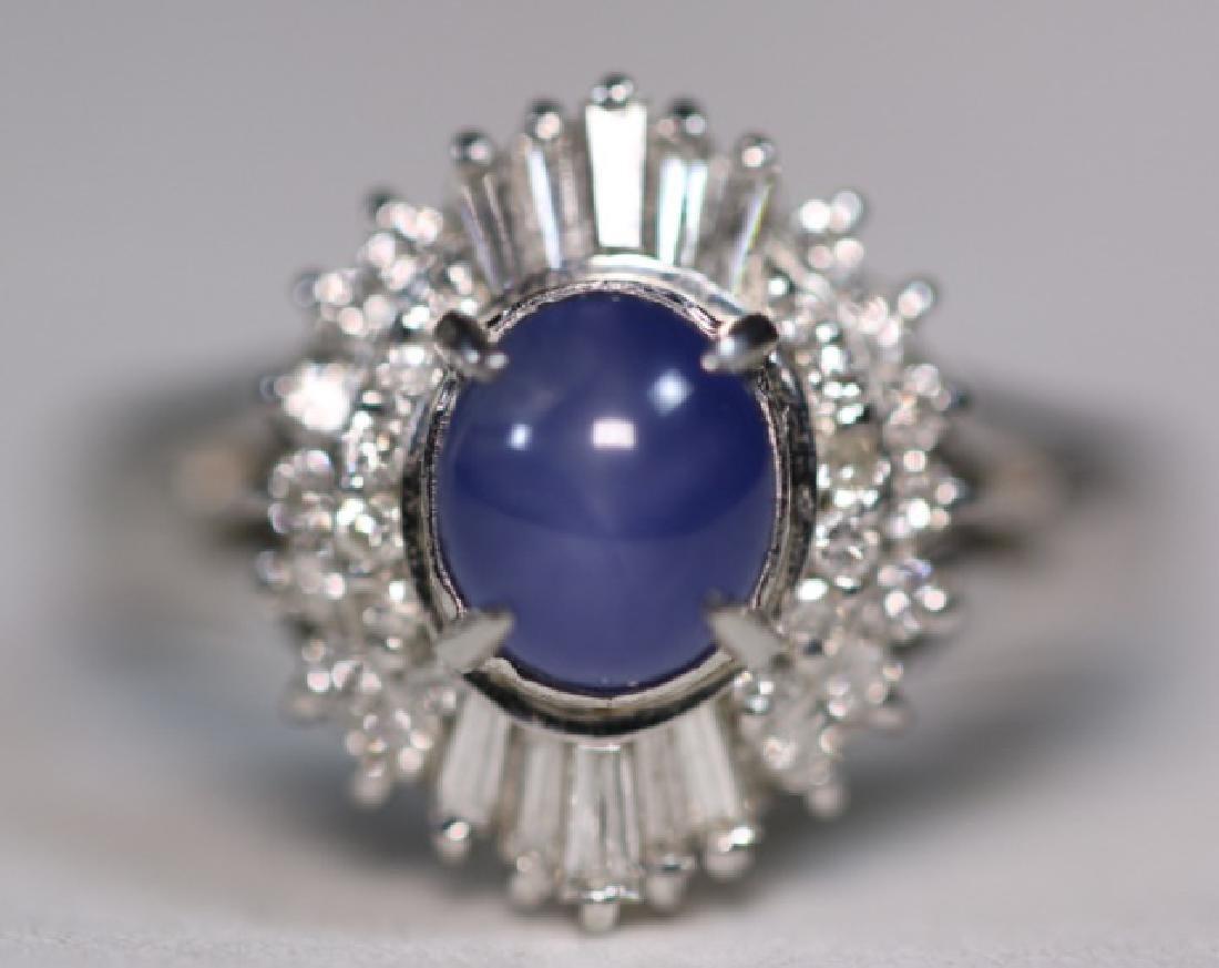 PLATINUM, BLUE CABOCHON SAPHIRE & DIAMOND  RING - 6