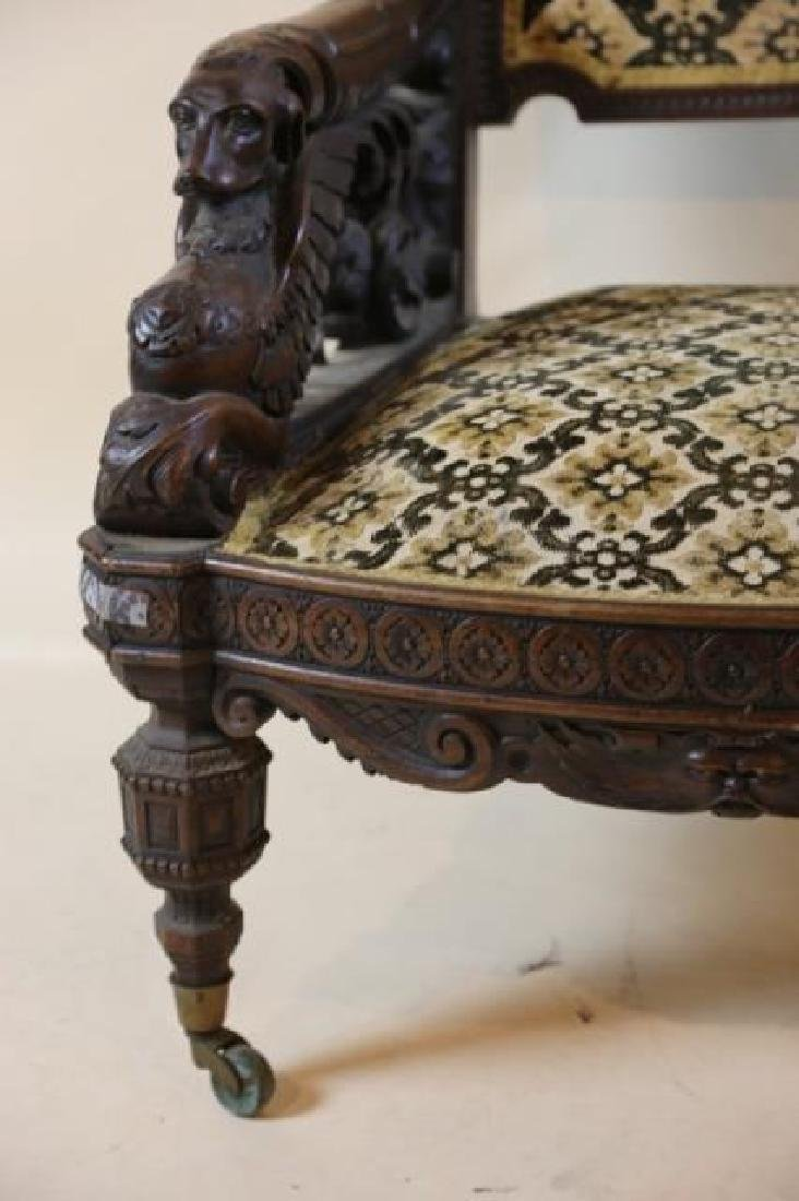 IMPORTANT VICTORIAN ANTIQUE CARVED ARM CHAIR - 10