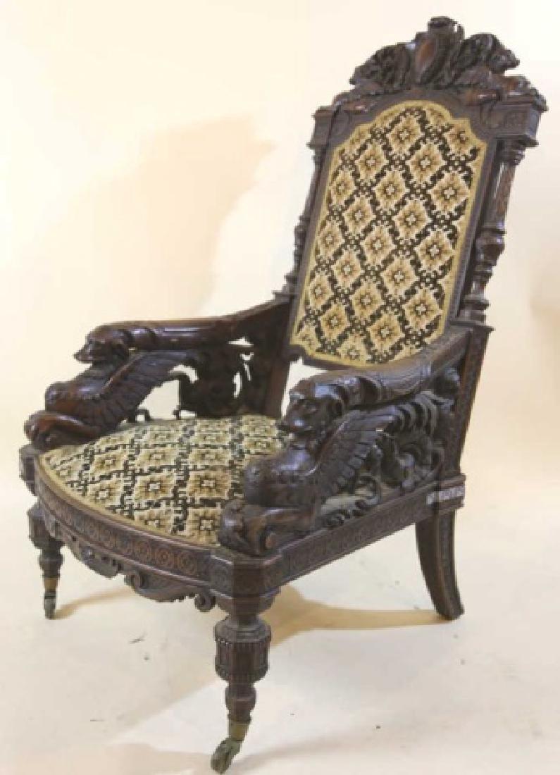 IMPORTANT VICTORIAN ANTIQUE CARVED ARM CHAIR - 3