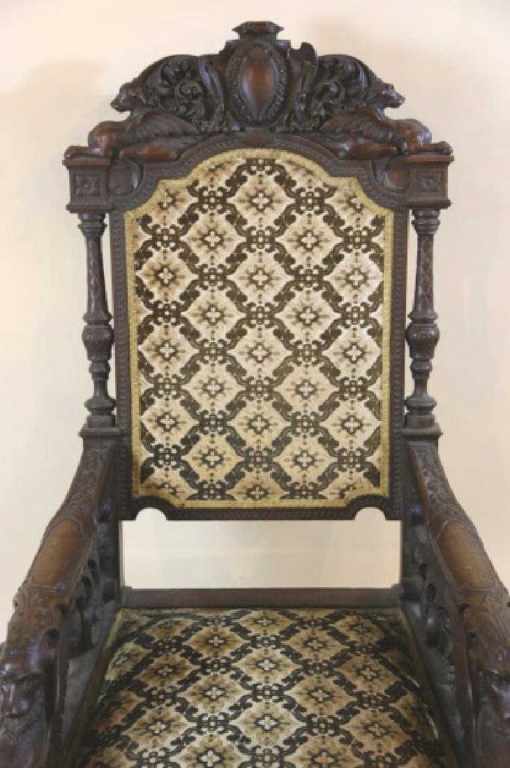 IMPORTANT VICTORIAN ANTIQUE CARVED ARM CHAIR - 5