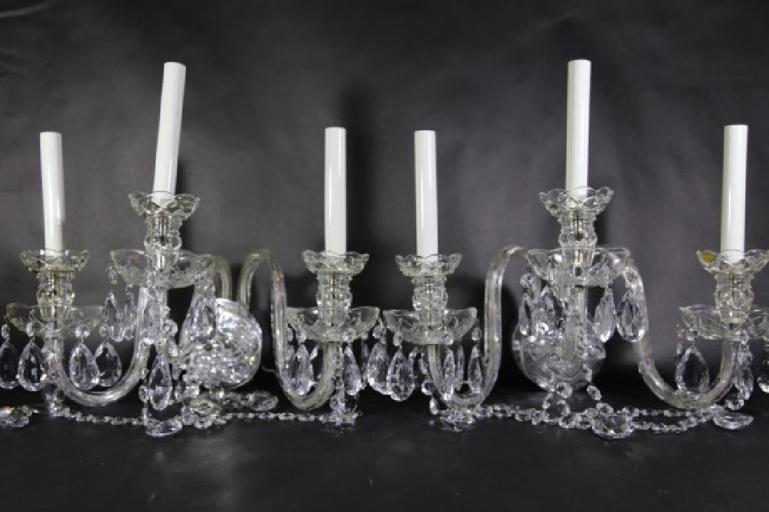 WATERFORD STYLE CRYSTAL THREE ARM SCONCES