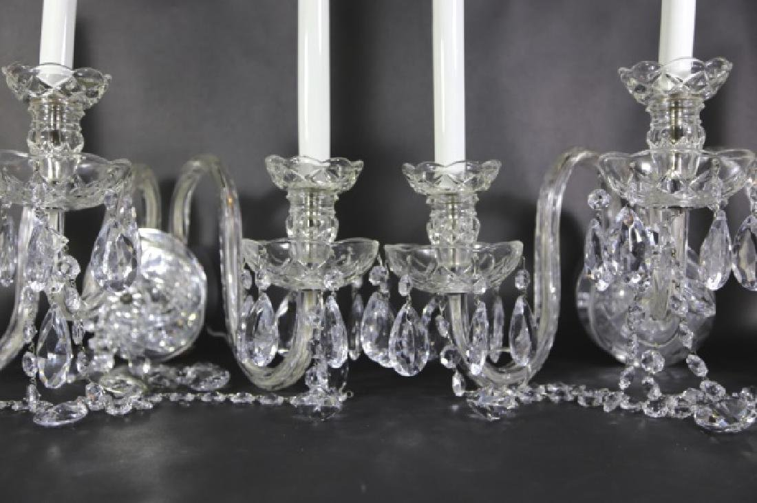 WATERFORD STYLE CRYSTAL THREE ARM SCONCES - 2