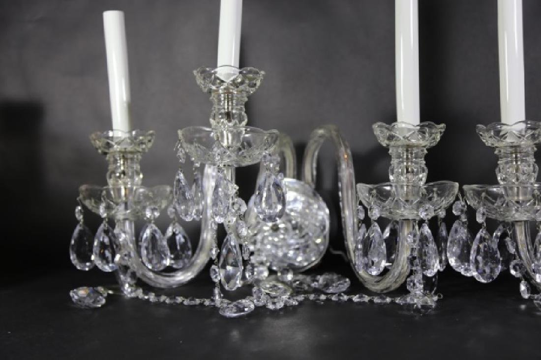 WATERFORD STYLE CRYSTAL THREE ARM SCONCES - 3