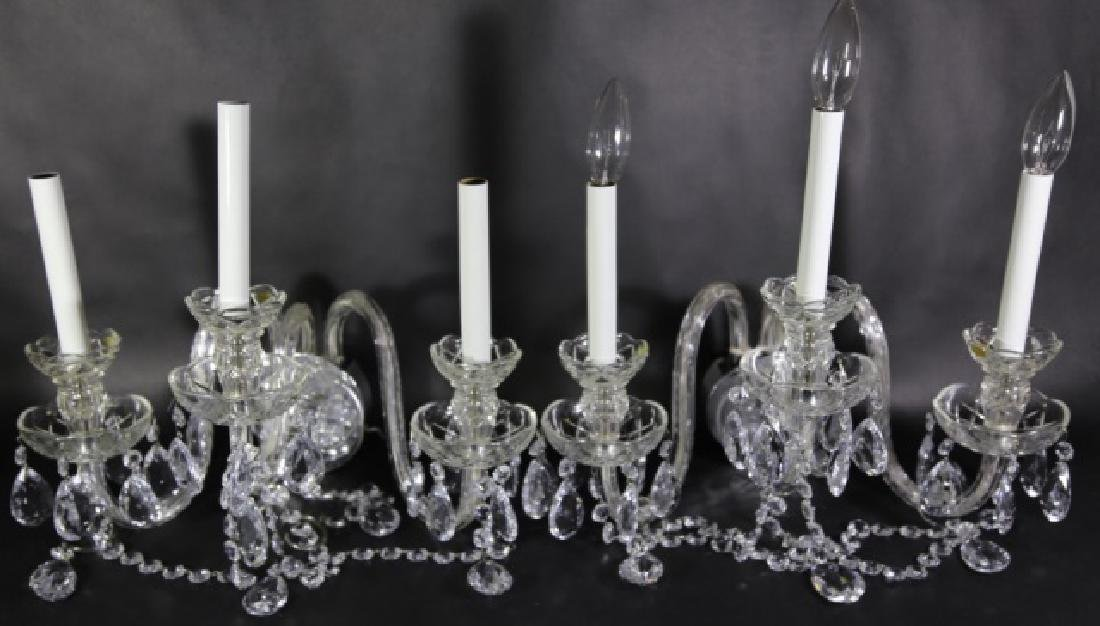 WATERFORD STYLE CRYSTAL THREE ARM SCONCES - 4