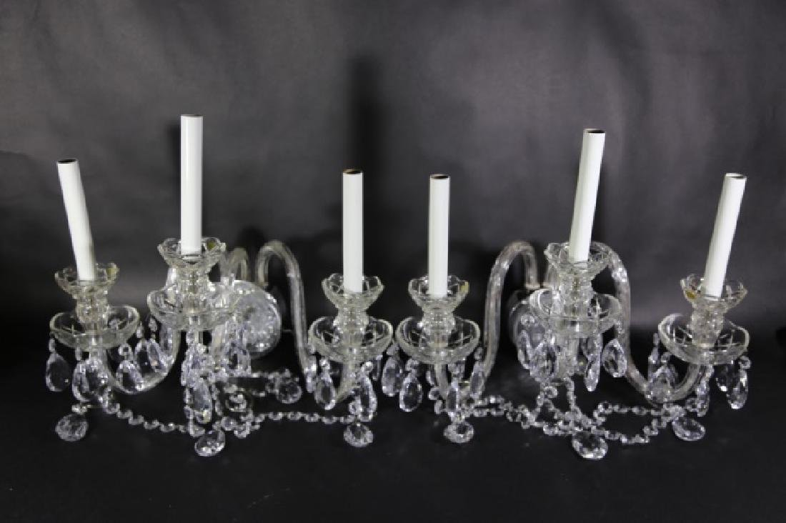 WATERFORD STYLE CRYSTAL THREE ARM SCONCES - 5