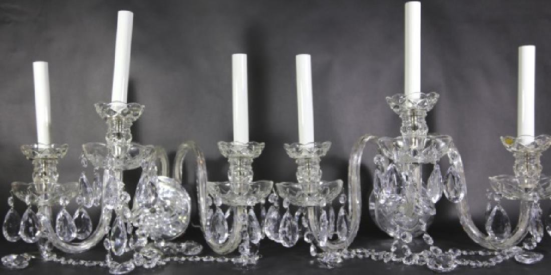 WATERFORD STYLE CRYSTAL THREE ARM SCONCES - 6
