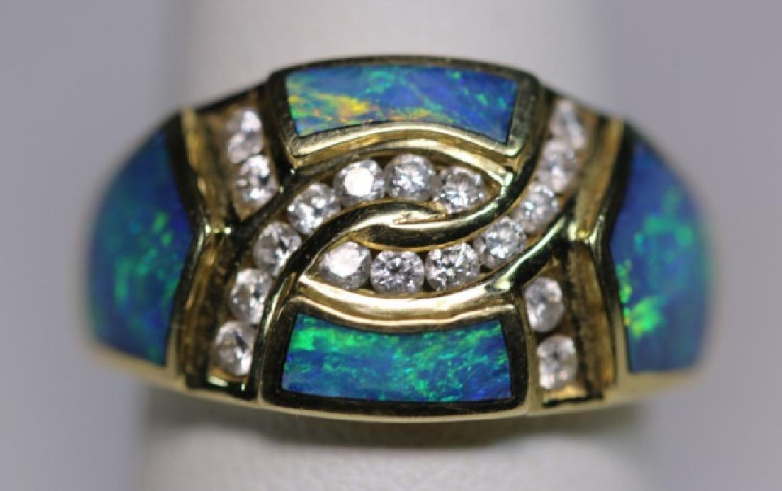 14KYG - DIAMOND - OPAL MODERN LADIES  RING