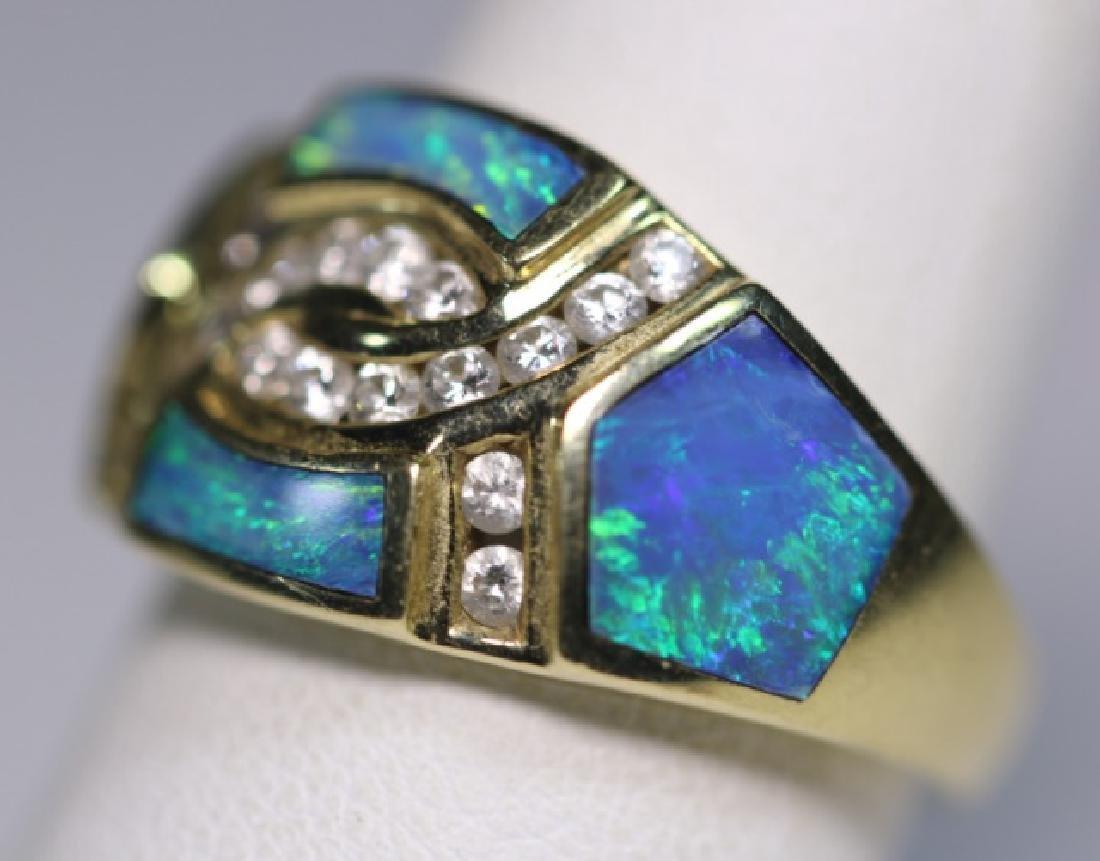 14KYG - DIAMOND - OPAL MODERN LADIES  RING - 2