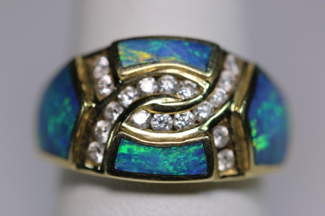 14KYG - DIAMOND - OPAL MODERN LADIES  RING - 7