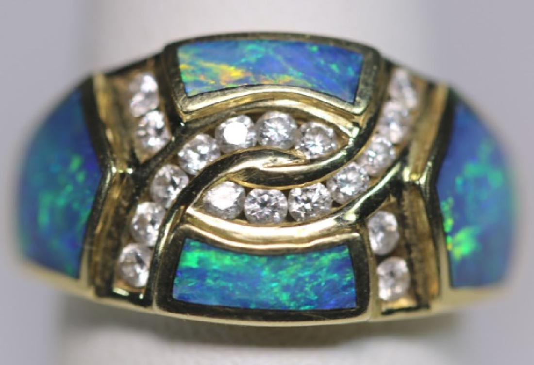 14KYG - DIAMOND - OPAL MODERN LADIES  RING - 8