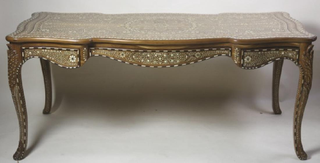 ANGLO INDIAN BONE INLAID HAND CARVED WRITING TABLE