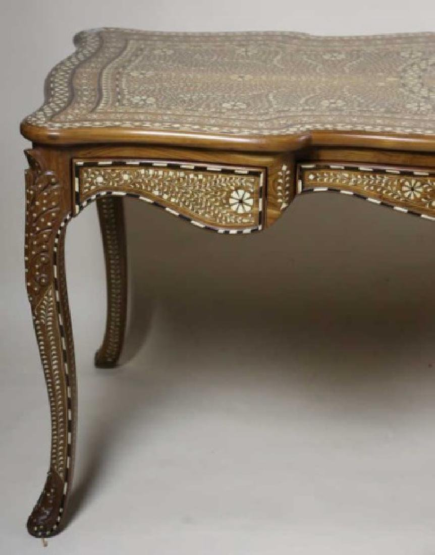 ANGLO INDIAN BONE INLAID HAND CARVED WRITING TABLE - 5