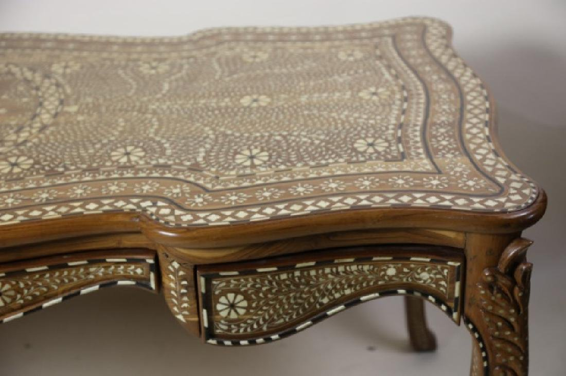 ANGLO INDIAN BONE INLAID HAND CARVED WRITING TABLE - 7
