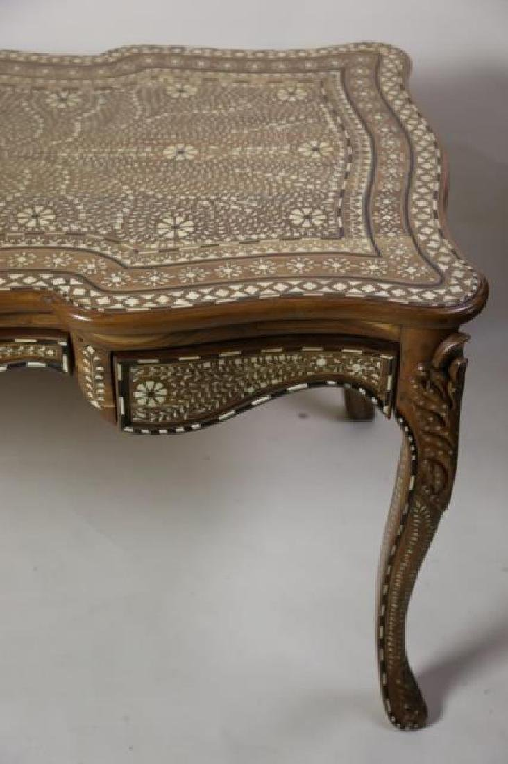 ANGLO INDIAN BONE INLAID HAND CARVED WRITING TABLE - 8