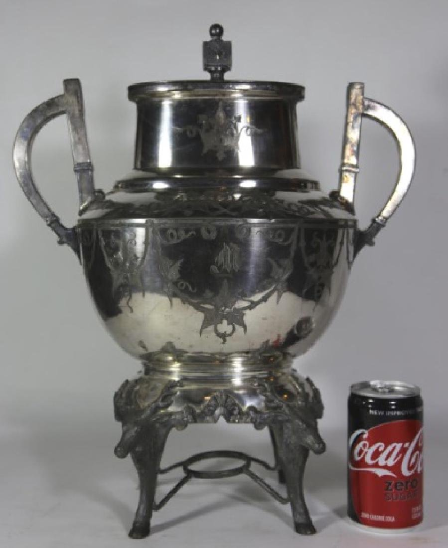 ANTIQUE ELK STAG SILVER COFFEE SERVER - 3