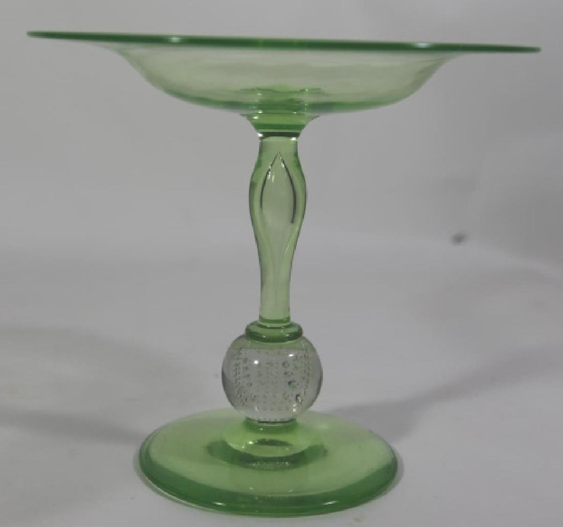 PAIRPOINT ARTGLASS EMERALD CONTROLLED COMPOTE - 6