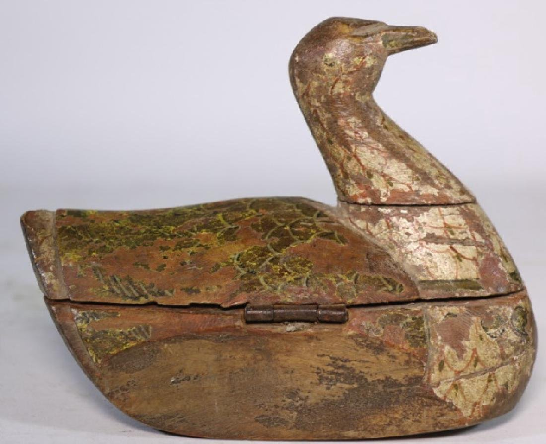 ANTIQUE CHINESE CARVED DUCK BOX - 6