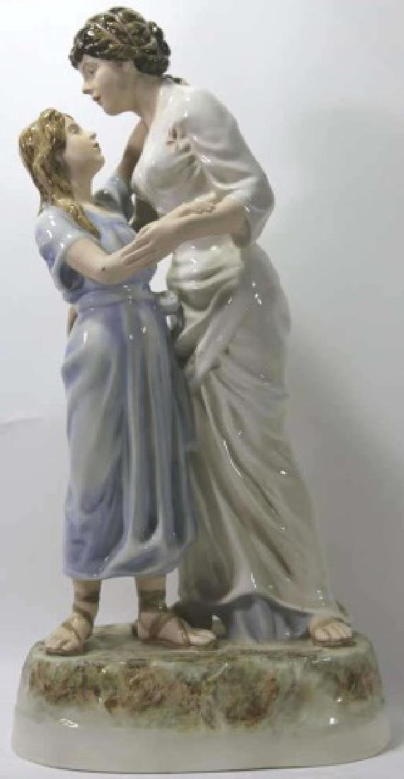 ROYAL DUX TALL PORCELAIN FIGURAL MOTHER & DAUGHTER