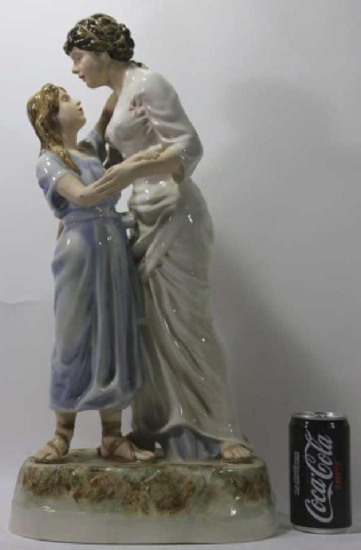 ROYAL DUX TALL PORCELAIN FIGURAL MOTHER & DAUGHTER - 2