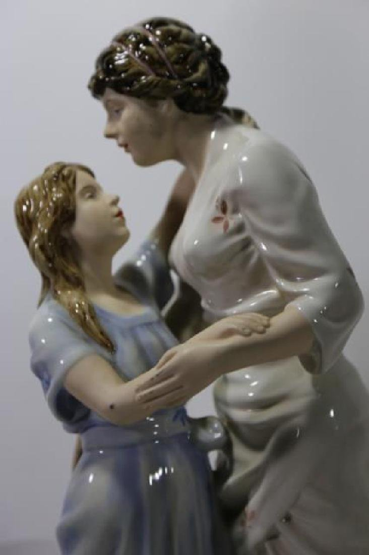ROYAL DUX TALL PORCELAIN FIGURAL MOTHER & DAUGHTER - 3