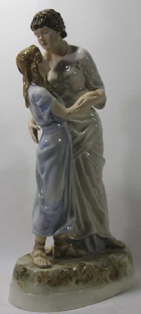 ROYAL DUX TALL PORCELAIN FIGURAL MOTHER & DAUGHTER - 4
