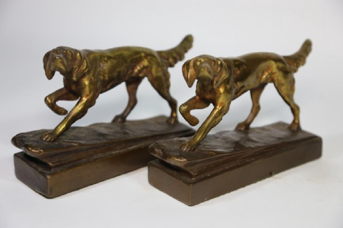 ARMORE BRONZE FIGURAL POINTER DOG  BOOKENDS
