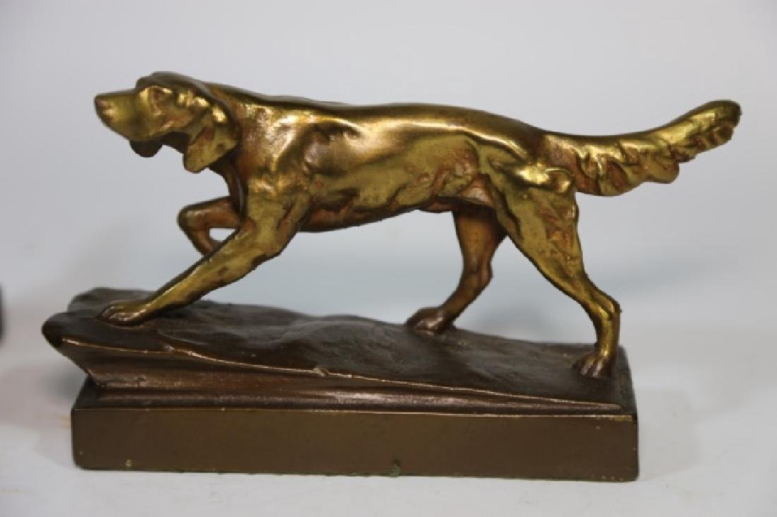 ARMORE BRONZE FIGURAL POINTER DOG  BOOKENDS - 5