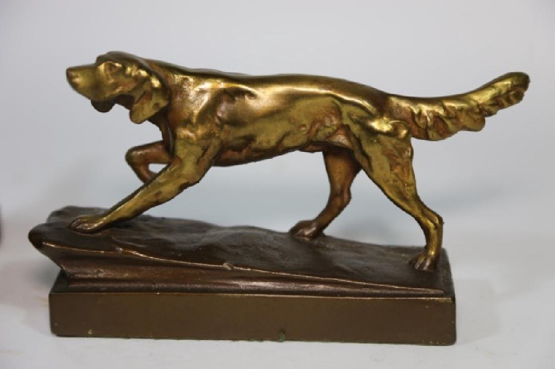ARMORE BRONZE FIGURAL POINTER DOG  BOOKENDS - 6