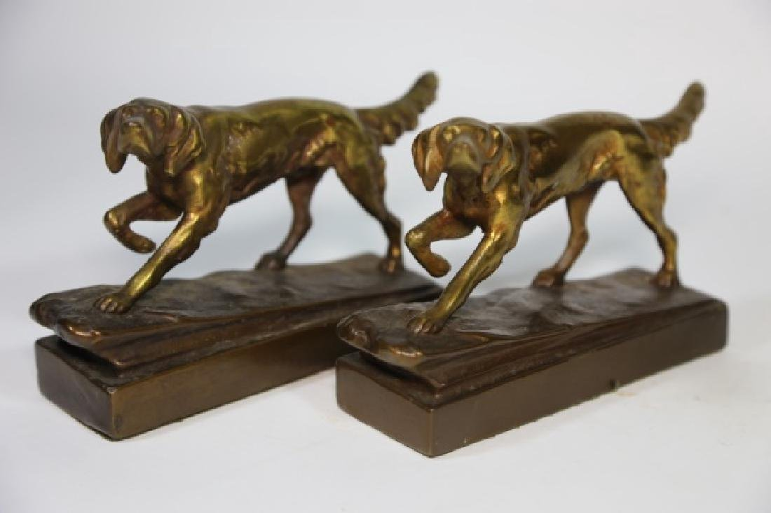 ARMORE BRONZE FIGURAL POINTER DOG  BOOKENDS - 7
