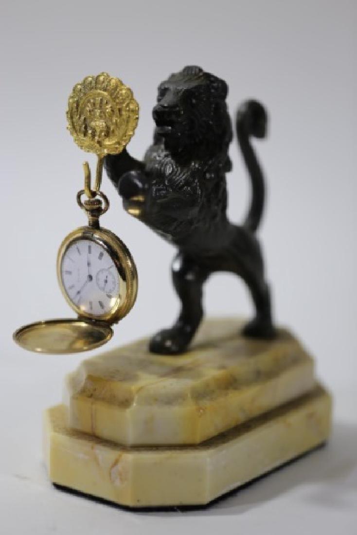 BRONZE ROARING LION & CARRERA MARBLE WATCH DISPLAY - 3
