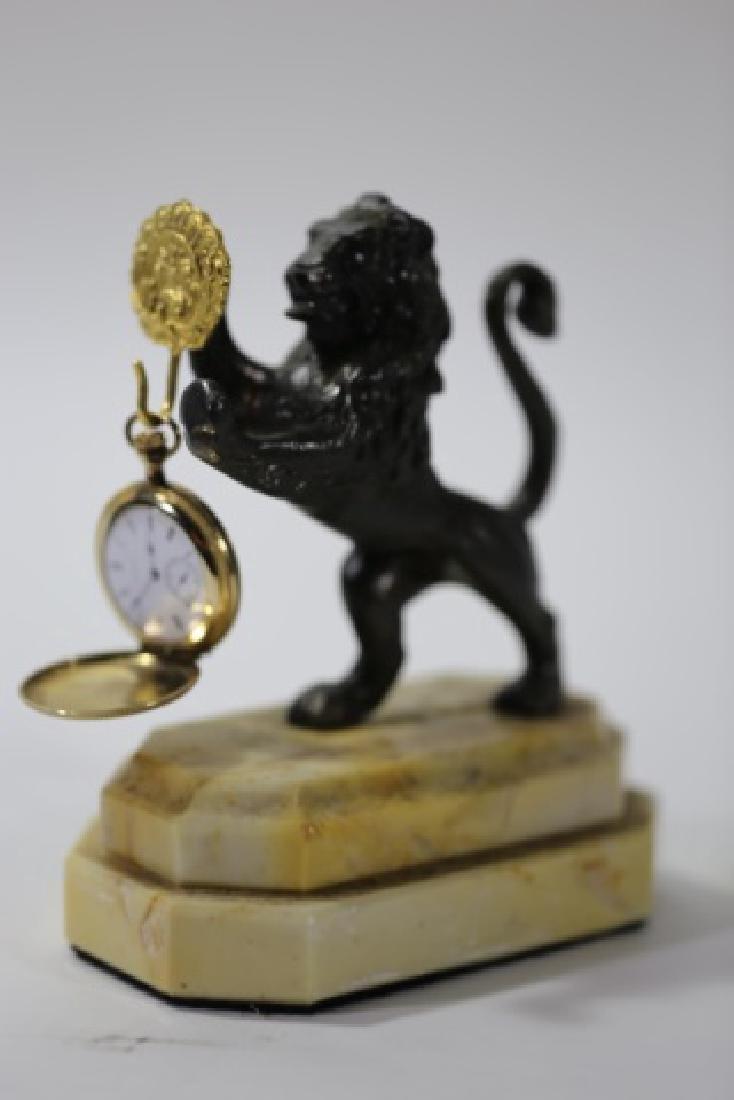 BRONZE ROARING LION & CARRERA MARBLE WATCH DISPLAY - 6