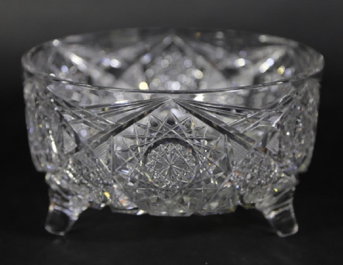 J. HOARE BRILLIANT PERIOD CUT GLASS FOOTED BOWL - 2