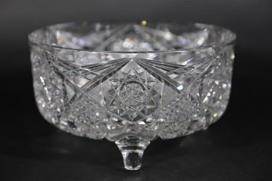 J. HOARE BRILLIANT PERIOD CUT GLASS FOOTED BOWL - 3