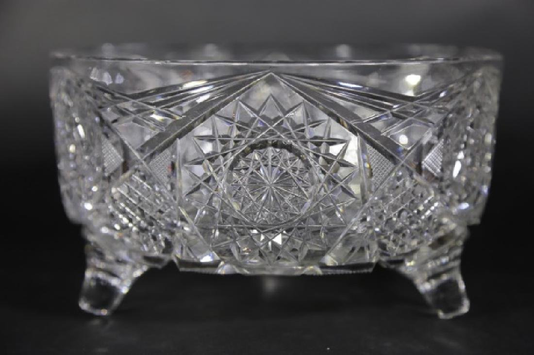 J. HOARE BRILLIANT PERIOD CUT GLASS FOOTED BOWL - 7