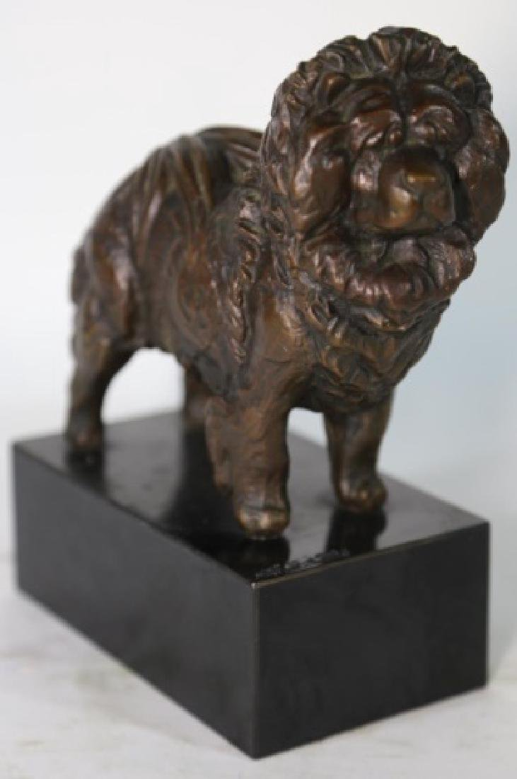 BRONZE SCULPTURE OF A CHOW ON BLACK MARBLE PLYNTH - 3