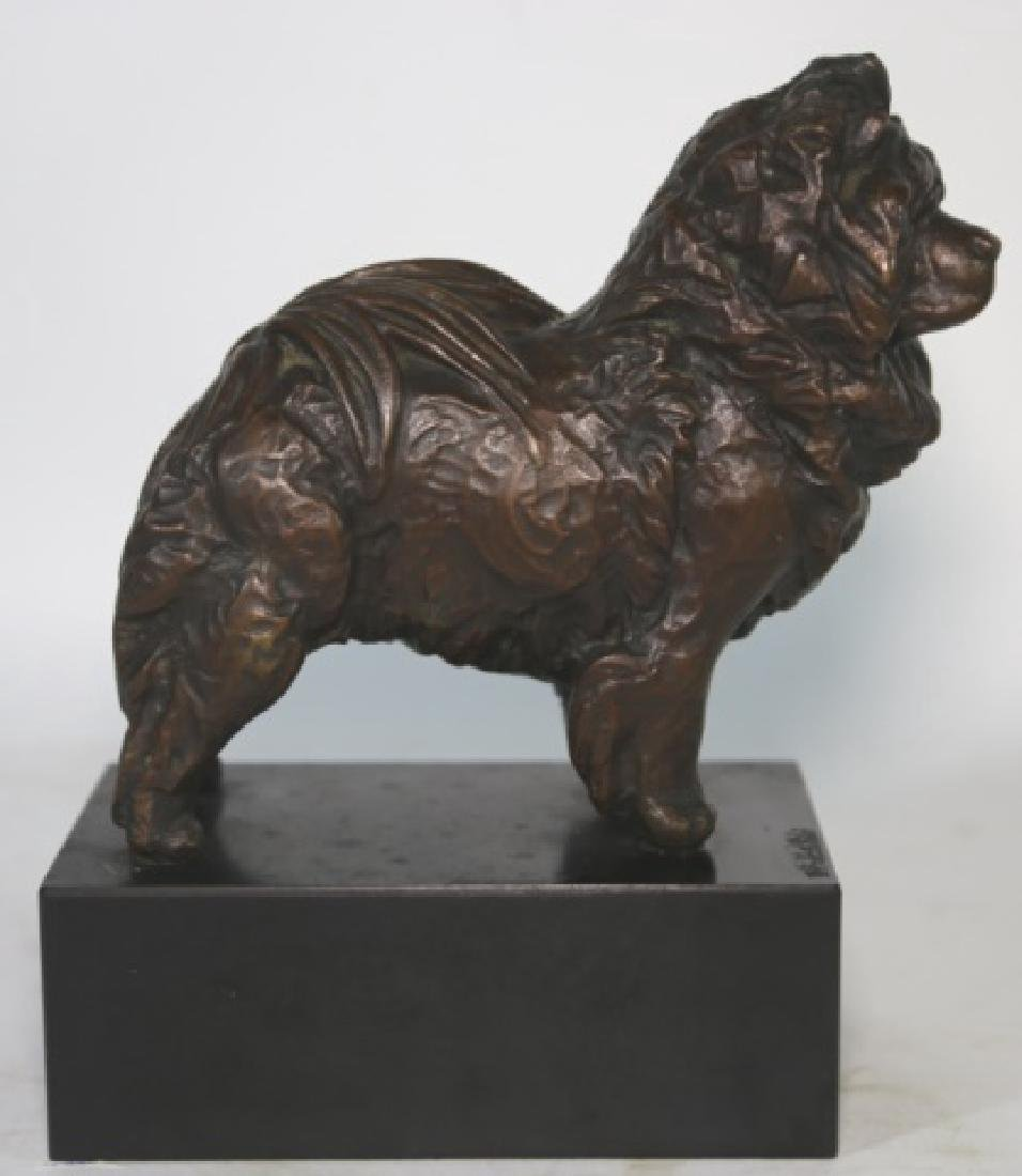 BRONZE SCULPTURE OF A CHOW ON BLACK MARBLE PLYNTH - 5