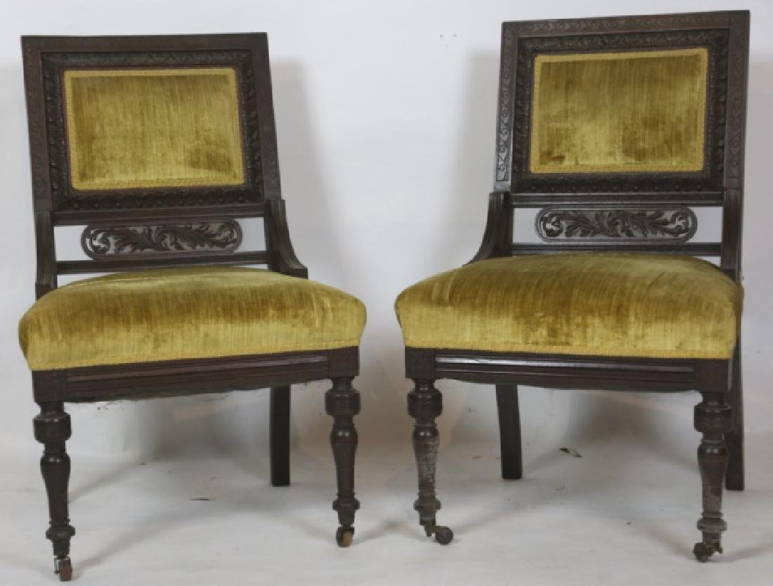 ENGLISH VICTORIAN PIERCE CARVED  MAHOGANY CHAIRS - 10