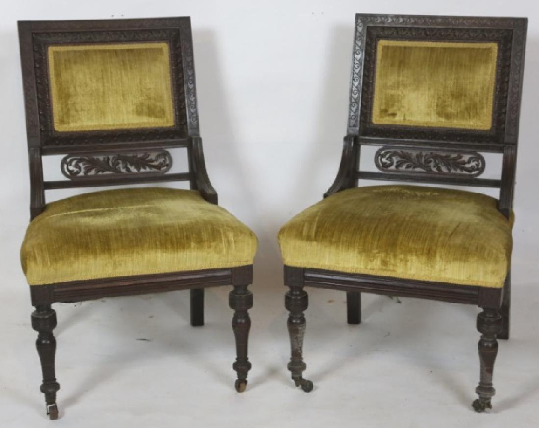 ENGLISH VICTORIAN PIERCE CARVED  MAHOGANY CHAIRS