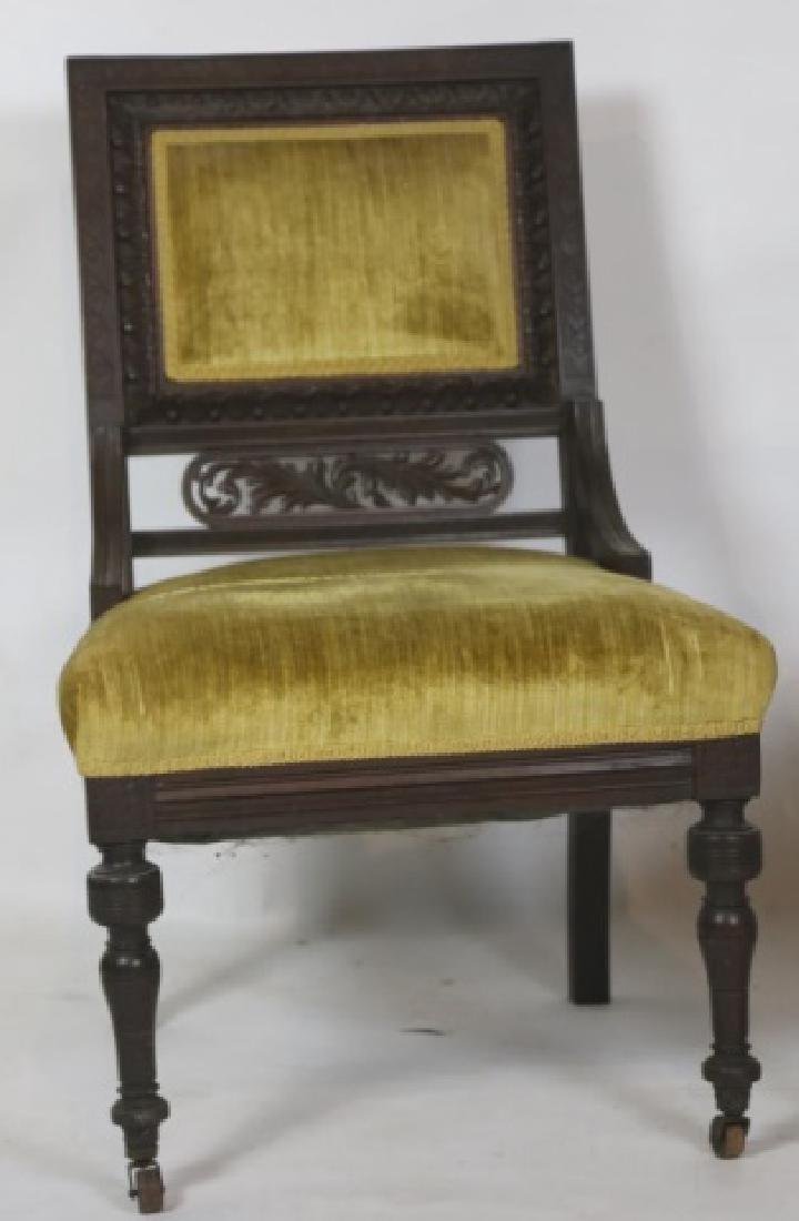 ENGLISH VICTORIAN PIERCE CARVED  MAHOGANY CHAIRS - 2