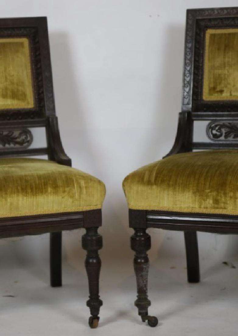 ENGLISH VICTORIAN PIERCE CARVED  MAHOGANY CHAIRS - 3