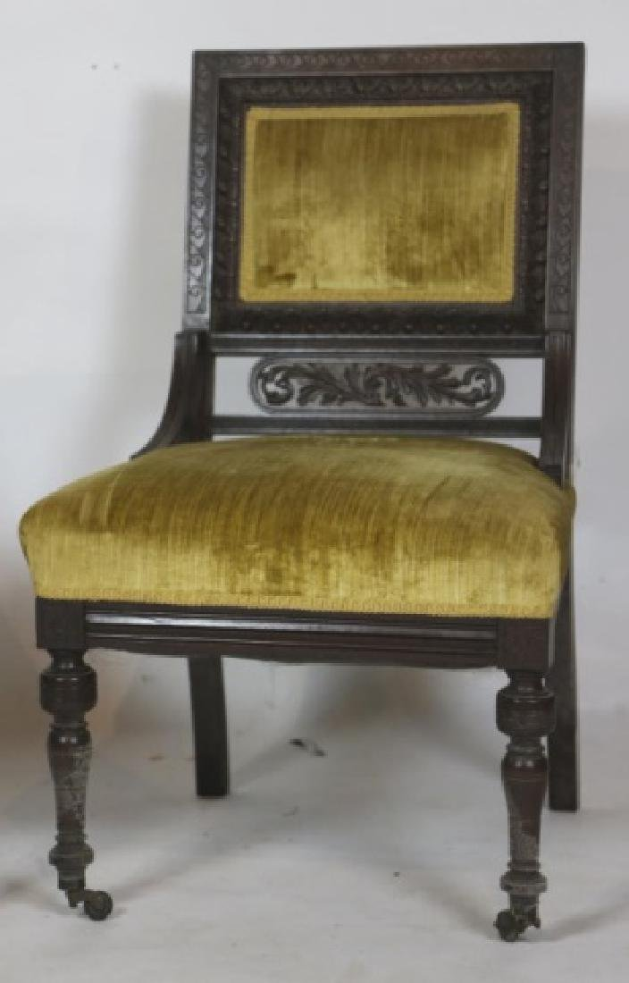 ENGLISH VICTORIAN PIERCE CARVED  MAHOGANY CHAIRS - 4